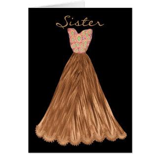 La HERMANA sea mi vestido de BROWN del CACAO de la Tarjetón