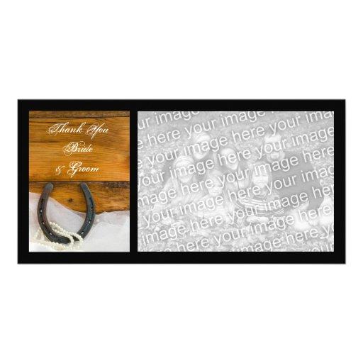 La herradura y el boda del país de las perlas le a tarjetas fotograficas personalizadas