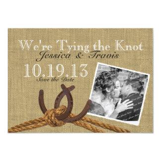 La herradura y la cuerda ahorran la fecha invitación 11,4 x 15,8 cm
