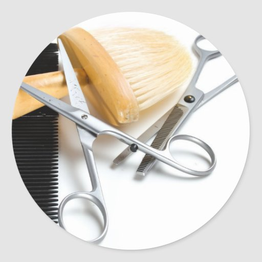 La herramienta del viejo peluquero pegatina redonda