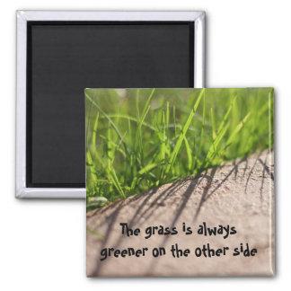 La hierba es siempre más verde en el ot… imán cuadrado