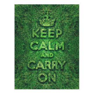 La hierba verde guarda calma y continúa tarjetas postales