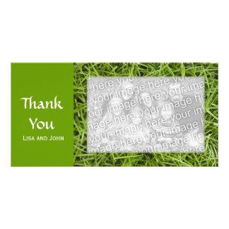 La hierba verde le agradece tarjeta de la foto tarjeta personal con foto