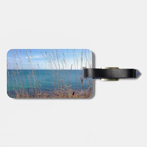 La hierba y el mar hermosos etiquetas maleta