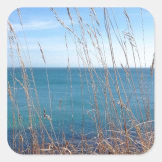 La hierba y el mar hermosos pegatina cuadrada