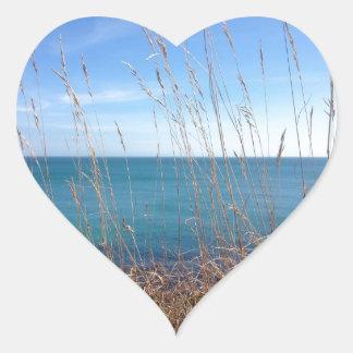 La hierba y el mar hermosos pegatina en forma de corazón
