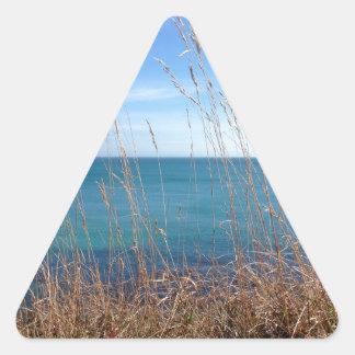 La hierba y el mar hermosos pegatina triangular