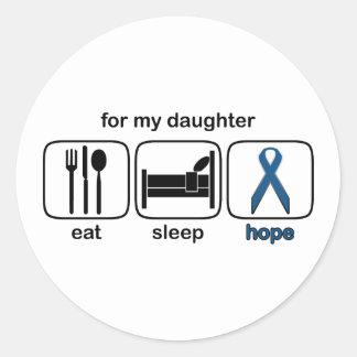 La hija come la esperanza del sueño - cáncer de pegatina redonda