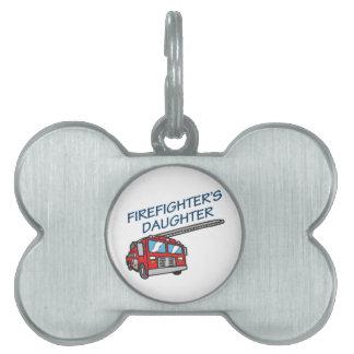La hija del bombero placa de nombre de mascota