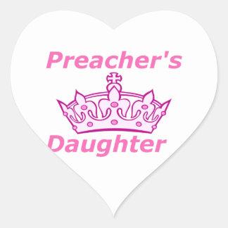 La hija del predicador pegatina de corazón personalizadas