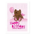 ¡La hija más dulce del oso del feliz cumpleaños! Tarjetas Postales