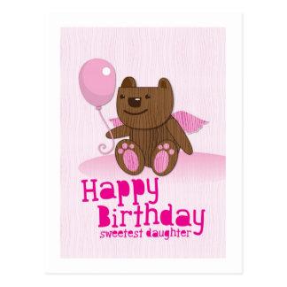 ¡La hija más dulce del oso del feliz cumpleaños Tarjetas Postales