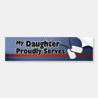 La hija sirve orgulloso pegatina de parachoque
