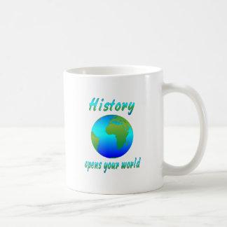 La historia abre los mundos taza de café