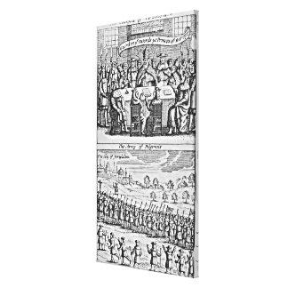 La historia de la guerra santa: impresión en lienzo