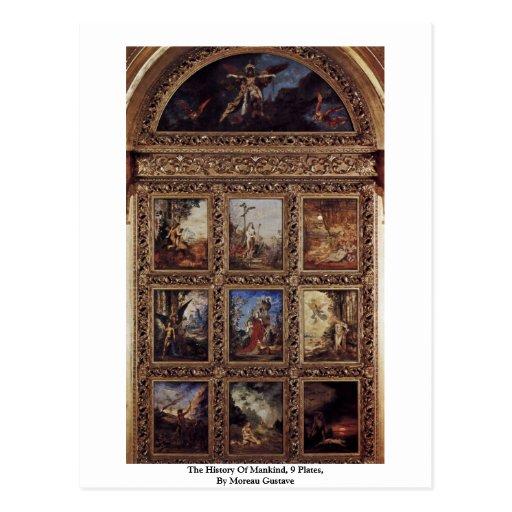 La historia de la humanidad, 9 placas de Moreau Gu Tarjetas Postales