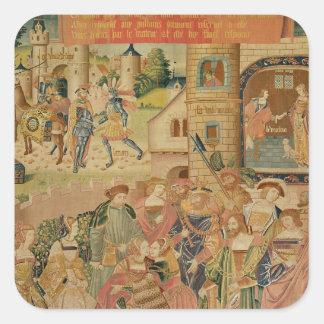 La historia de Perseus, décimo quinto-décimosexto Pegatina Cuadrada