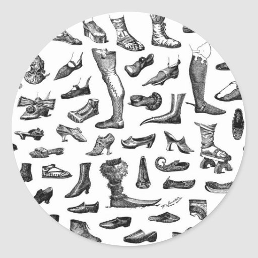 La historia de zapatos pegatina redonda