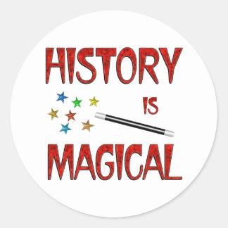 La historia es mágica pegatina redonda