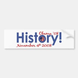 La historia Obama gana 2008 Etiqueta De Parachoque