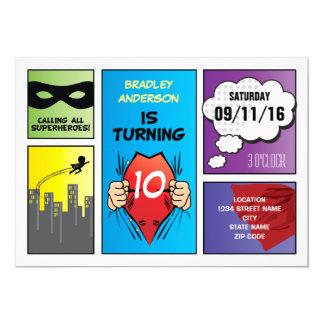 """La historieta del super héroe embroma cumpleaños invitación 5"""" x 7"""""""