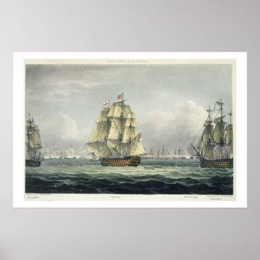 La HMS Victory que navegaba para la línea francesa Poster