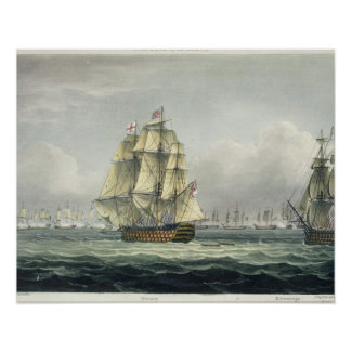La HMS Victory que navegaba para la línea francesa Póster