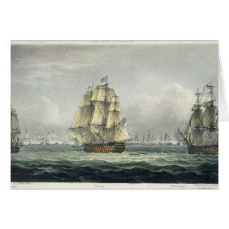 La HMS Victory que navegaba para la línea francesa Tarjeta De Felicitación