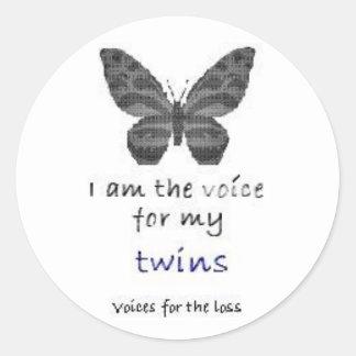 La hoja 20 soy la voz para mis gemelos azules etiquetas redondas