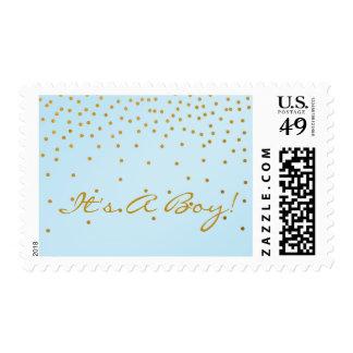 La hoja azul clara y de oro puntea el sello