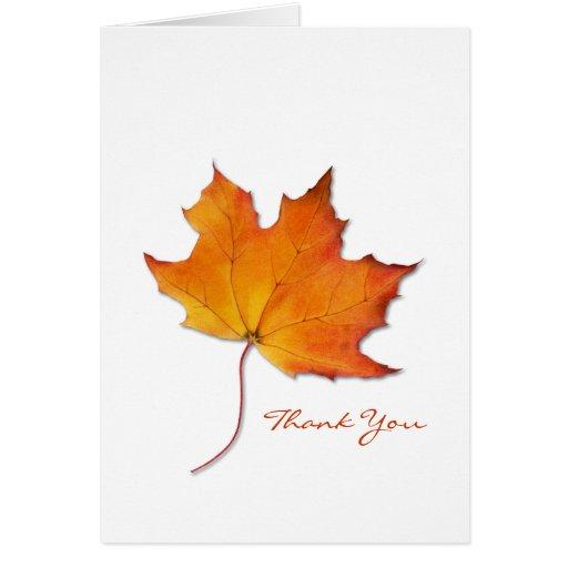 La hoja de arce le agradece tarjeta de nota