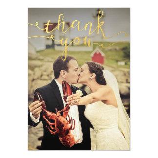 """La hoja de oro de la foto del boda le agradece las invitación 5"""" x 7"""""""