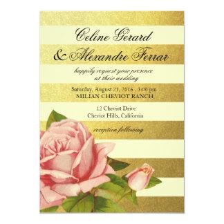 La hoja de oro rayó la marfil floral del oro del invitación 12,7 x 17,8 cm