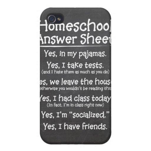 La hoja de respuesta de Homeschool iPhone 4 Carcasas