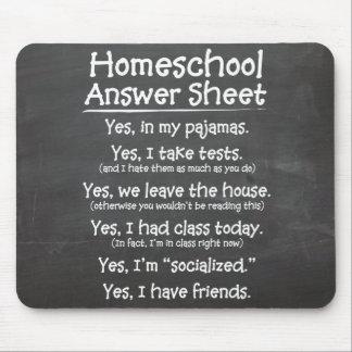La hoja de respuesta de Homeschool Alfombrillas De Ratones