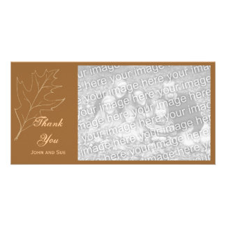 La hoja del roble del otoño le agradece tarjeta de tarjeta fotografica personalizada