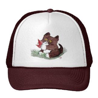 La hoja roja I Gotcha dice el gatito Sumi-e Gorras De Camionero