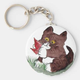 La hoja roja I Gotcha, dice el gatito.    Sumi-e Llavero