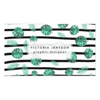 La hoja tropical de la acuarela verde raya el tarjetas de visita