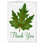 La hoja verde bonita le agradece diseño de la tarj tarjetas