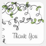 La hoja verde le agradece pegatina cuadrada