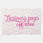 La holgazanería ahora paga apagado rosa toallas de cocina