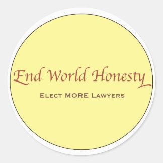 La honradez del mundo del extremo elige a más pegatina redonda