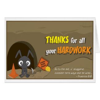 La hormiga le agradece cardar tarjeta