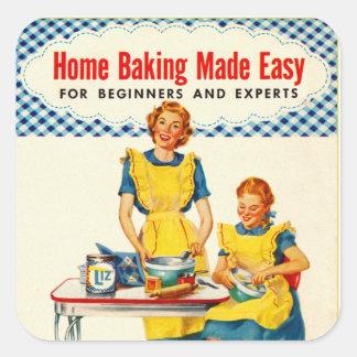 La hornada del hogar de la hornada de la mujer del pegatina cuadrada