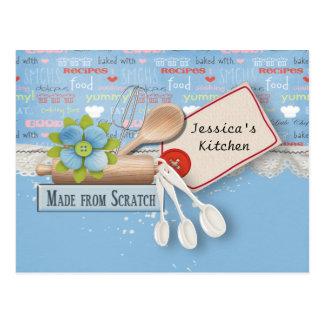 La hornada equipa la tarjeta de la receta tarjetas postales