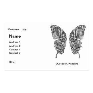 La huella dactilar se va volando la tarjeta de vis tarjetas de visita