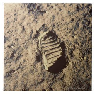 La huella del astronauta azulejo cuadrado grande