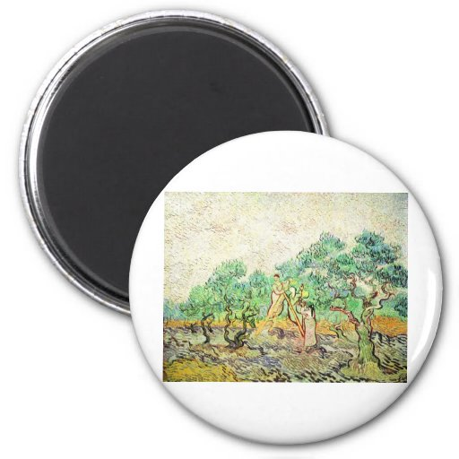 La huerta verde oliva - Vincent van Gogh (1889) Imán Redondo 5 Cm