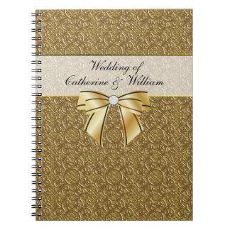 La huésped simple del boda de la elegancia del oro libreta espiral